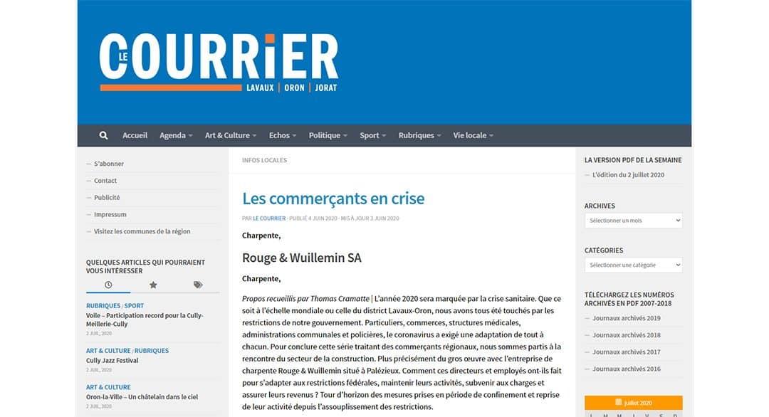 """Découvrez l'article du 04.06.2020 « Les commerçants en crise », rédigé par M. Cramatte Thomas dans """"LE COURRIER"""""""